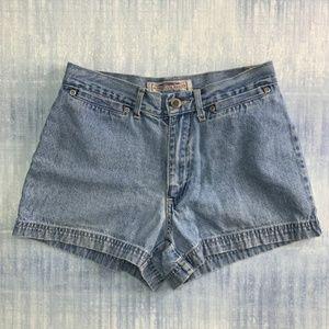Vintage High Waist Denim Shorts Light Wash